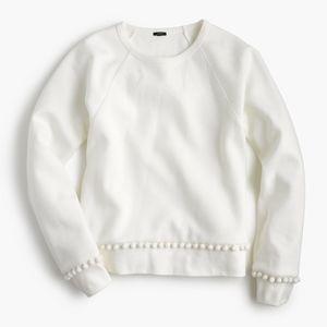 J Crew white pom-pom sweatshirt top S